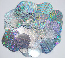 100 x 25mm large round silver laser beam sequins