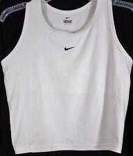 Nike Dri-Fit Womens Tank Cropped Top Racerback XL Shelf Bra White Swoosh Yoga