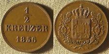 Germany State : Bavaria 1856  1/2 Kr.  CH.AU/UNC  Nice  #463   IR8192