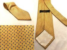 Brooks Brothers Maker 100% Silk Tie Gold Yellow Blue Foulard Design Formal 58 L