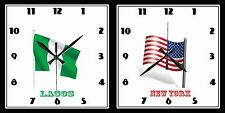 "Custom Photo Logo Two Dials Time Zone Wall Clock On Aluminum Plate 12""x24"""