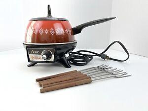Vintage Oster Electric Fondue Set Retro Orange to Brown Pot Wooden Handle Forks