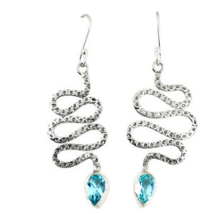Natural Blue Topaz 925 Sterling Silver Snake Earrings Jewelry D23325
