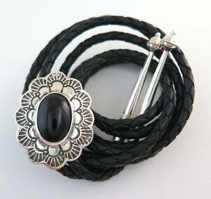 Sterling Silver and Black Onyx Stamped Scalloped Southwestern Bolo Tie