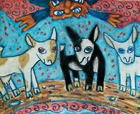 NIGERIAN DWARF Goats Gruff with Troll Dairy Goat Art Print 8 x 10 Signed KSAMS