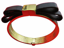 Vince Camuto Bracelet Black Leather Bow Clamper Cuff Bangle Hinged Gold 516g