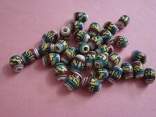#M88 - 2o Peruvian Ceramic Beads tube 8mm So.western Inca Aztec multi colored