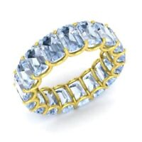 7.50 Ct Aquamarine Engagement Eternity Band 14K Solid Yellow Gold Rings Size N