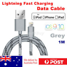 iPhone 8 7 6s 5 Plus USB to Lightning Data Fast Charge Cable Braided Grey iOS10