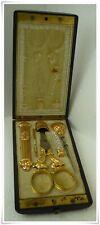 Amazing French Set Sewing tools 18K Solid Gold 1840's Thimble Needle  Ebony Case