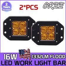 2x 16W CREE LED Pod Lights Flush Mount Driving Work Fog LAMP Cube 5D Len Yellow