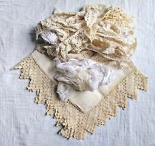 Vintage Lace Doily LOT of Mixed SMall pieces of White Handmade Crochet Linen