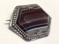 Antique Large Scottish Silver & Facet Cut Banded Agate Brooch