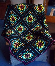 READY TO SHIP! Exquisite Handmade Stained Glass Rainbow Crochet Afghan Blanket