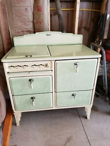 1930s Grand KITCHEN RANGE Green Enamelware Gas Stove/Oven ANTIQUE with broiler