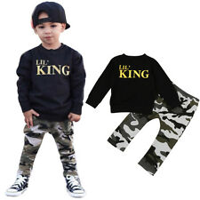 2PCS Toddler Kids Baby Boy T-shirt Tops+Camouflage Pants Trousers Outfit Clothes