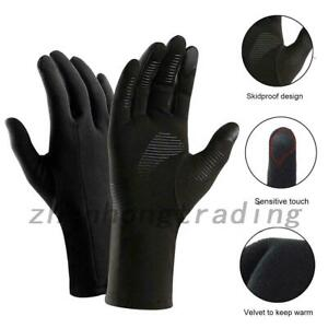 Black Thermal Windproof Anti Slip Driving Cycling Bike Ski Gloves Cold Weather