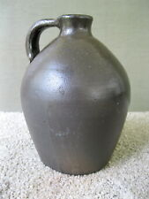 "Antique Jug Ovoid Glazed Stoneware Small 2 Qt Crock, Applied Handle, 9"" Tall"