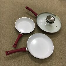 Set of 3 Matching Red Frying Pans with White Ceramic Non-Stick Interiors