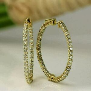 White Gold Over 3 Ct Round Cut Daimond Inside Out Hoop Earrings For Women's 02