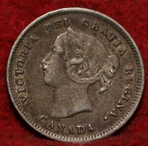 1900 Canada 5 Cents Silver Foreign Coin