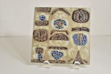 Vintage Royal Copenhagen Denmark Tan, Brown, Blue Ceramic Tile by Nils Thorsson