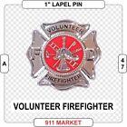 Volunteer Firefighter Lapel Pin Maltese Cross SILVER VFF Badge Fireman  -   A 47