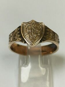 Antique Victorian 9 Carat Gold & Woven Hair Mourning Band Ring