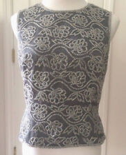 #461 Oleg Cassini Black Tie Grey Beaded Embellished Sleeveless Lined - Size 10