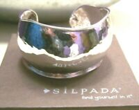 SILPADA BRACELET STERLING SILVER WIDE HAMMERED DOME CUFF $399 LIVE LARGE B2460