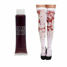 WHITE BLOOD STAINED STOCKINGS + FAKE BLOOD ZOMBIE HALLOWEEN HORROR FANCY DRESS