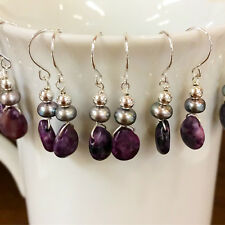 Sugilite Sterling Silver and Freshwater Pearl Earring