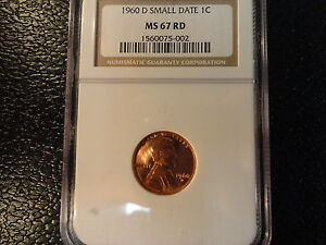 1960-D LINCOLN CENT- NGC MS 67 RD WITH SMALL DATE