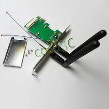 Mini PCIe Wireless Wlan Network WiFi Card to PCI-e x1 adapter + 2 antennas