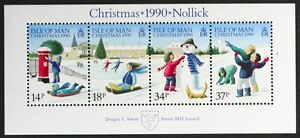 T776ISLE OF MAN 1990 #439a Christmas Playing in the Snow S/S Mint NH