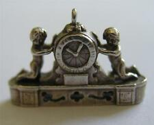 VINTAGE UK STERLING SILVER FRENCH MANTLE CLOCK w CHERUBS CHARM ~ NUVO