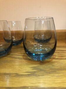 4 X Vintage Light Blue Water / juice / whiskey Glasses 300ml
