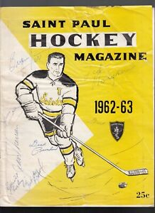 1962-63 St Paul Fighting Saints IHL Hockey Program Cover Autographed 7 Players