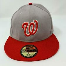 Washington Nationals MLB New Era 59Fifty Fitted Hat Gray Red Cap Size 7 1/4 NWT