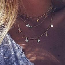 Love Stars Necklace Chain Jewellery Layer Choker Bohemian Boho UK