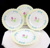 """ROYAL DOULTON 4 PICARDY PINK FLORAL TURQUOISE RIMS 8 1/4"""" SALAD PLATES 1946-60"""