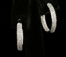 SONIA B. NATURAL 1.72ctw DIAMOND 14K WHITE GOLD PAVE INSIDE OUT HOOP EARRINGS