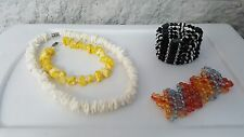 LOT OF 4 HANDCRAFETED COSTUME JEWELRY STRETCH BRACELET SEASHELL MAGNETIC