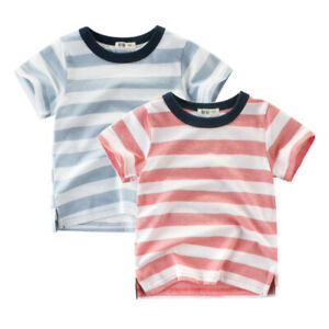 1-8 Years Kids Boys Toddler Casual 100% Cotton Striped Tshirt T Shirt Tops Tee