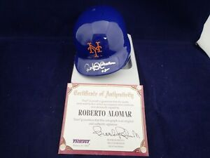 Roberto Alomar Signed NY Mets Mini Batting Helmet - Topps Reserve 2819897 *Smear
