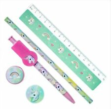 5 Piece Unicorn Stationery Set Pen Pencil Ruler Sharpener Eraser Rubber Children