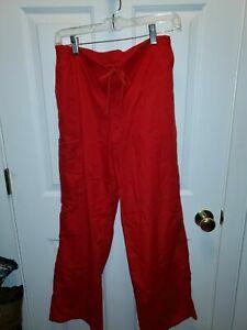 SB Scrubs Womens Scrub Pants Size Small Red Drawstring 967