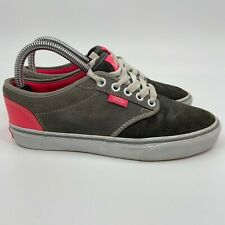 Vans Womens Suede Leather TB4R Low Top Lace Up Pink Gray Sneaker Shoes Size 7