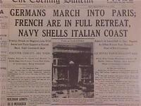 VINTAGE NEWSPAPER HEADLINE~WORLD WAR 2 GERMANS IN PARIS FRENCH RETREAT WWII 1940
