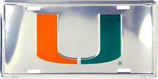 University of Miami Hurricanes Chrome Metal License Plate Auto Tag Sign